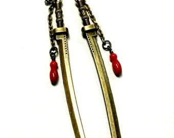 Katana Earrings Sword and blood bronze Handmade Gift