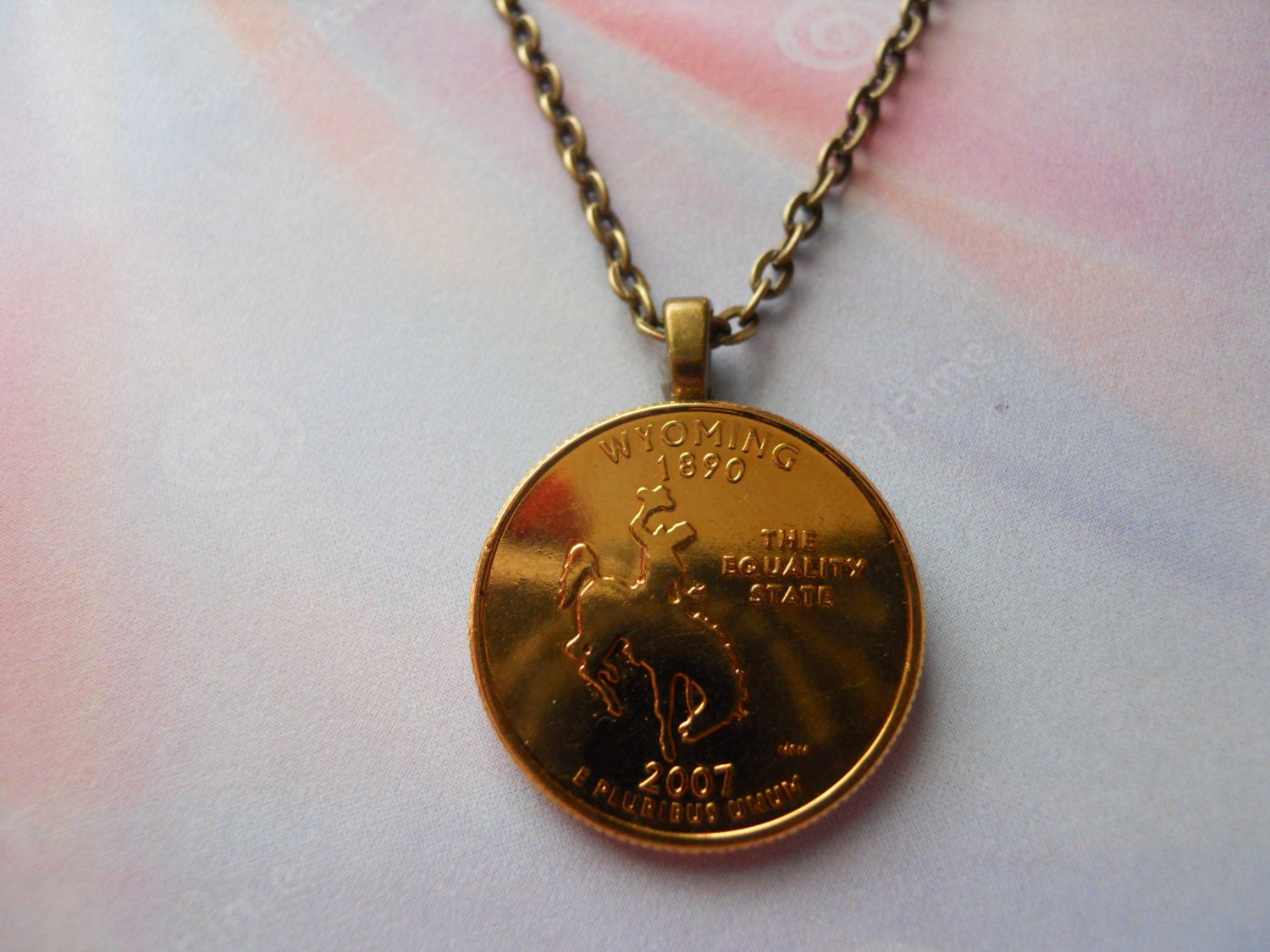 Wyoming United States Gold Colored Quarter Coin Necklace