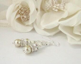 Champagne Pearl Drop Earrings, Pale Gold Wedding Jewellery, Crystal Dangles, Pearl Bridesmaid Earrings, Champagne Wedding, Bridesmaid Gifts
