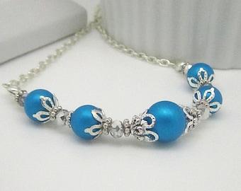 Capri Bridesmaid Necklace, Mailbu Bridesmaid Jewellery, Pearl Bridal Jewellery, Blue Bridal Sets, Bridesmaid Gifts, Malibu Blue Wedding