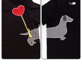Children's wiener dog with heart balloon applique T-shirt size 4-6