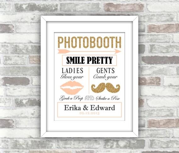 PRINTABLE - Wedding Photobooth Sign - Blush pink Gold glitter - Personalised digital art print file - Moustache and lips - DIY wedding decor
