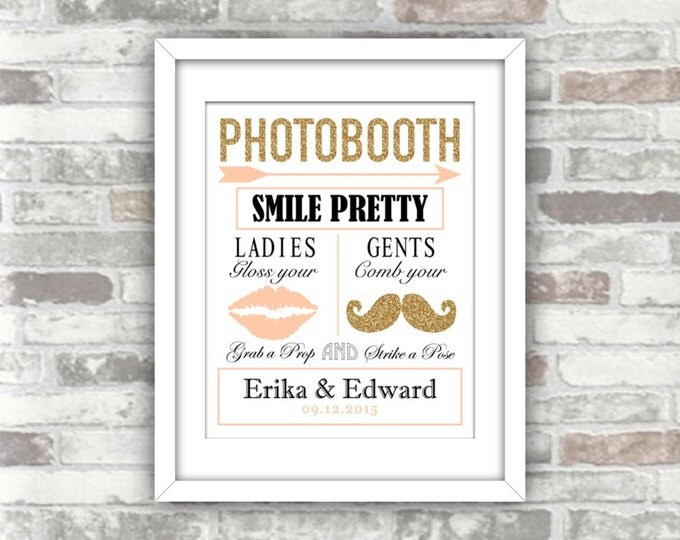 PRINTABLE - Wedding Photobooth Sign - Blush pink Gold glitter - Personalised digital art print file - Moustache and lips - DIY wedding decor