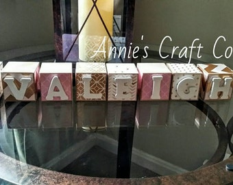 Personalized Baby Name Blocks Gold and Pink 2 Inch Wooden Letter for Nursery Shelf Decor- Newborn-Maternity Belly Photo Prop-or Shower Gift