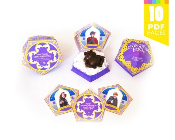 Chocolate Frog Box Template + Includes Matching Sign! - Harry Potter Party with High Quality Printable PDF Pages - INSTANT DOWNLOAD