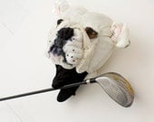 Golf club headcover Custom  DOG portrait  Bulldog golfer gift