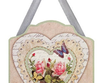 Floral and Butterfly Wood Plaque