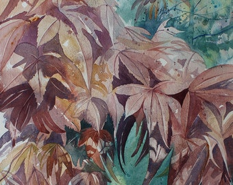 Original watercolour painting of a tree, Acer painting, painting of leaves, purple and red tree, Cornwall garden, watercolour art