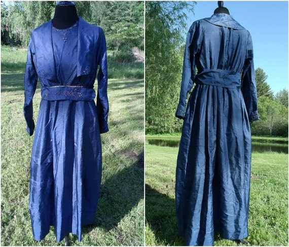 1910s Antique Navy Blue Silk Tea Dress . Dainty Coral Beadwork . Art Nouveau .