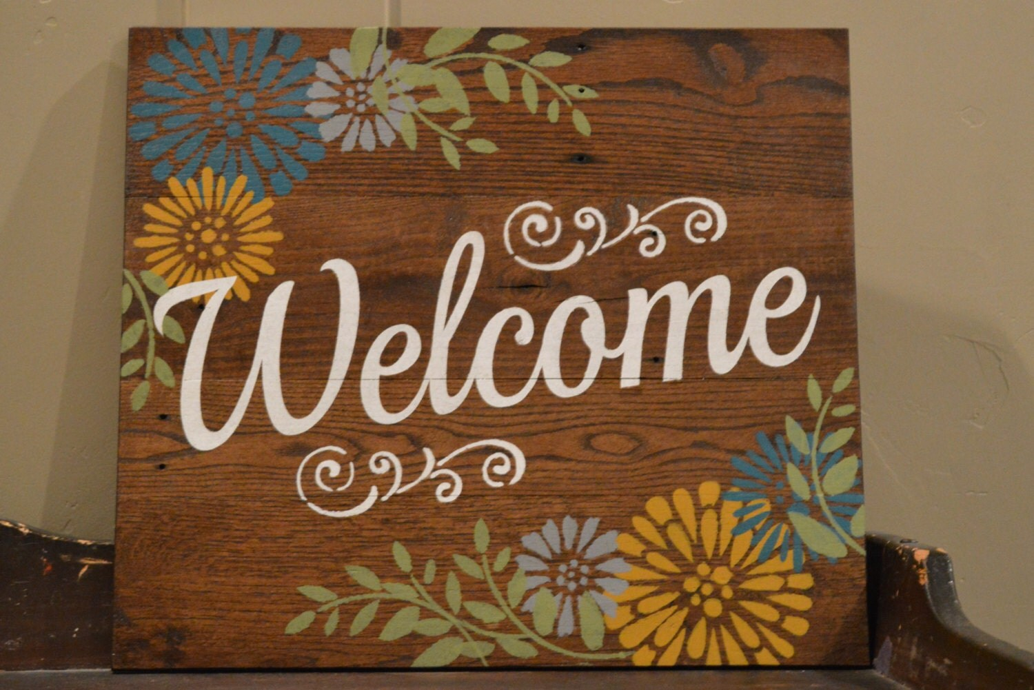 Welcome Pallet Wood Sign Shabby Chic Home Decor Vintage