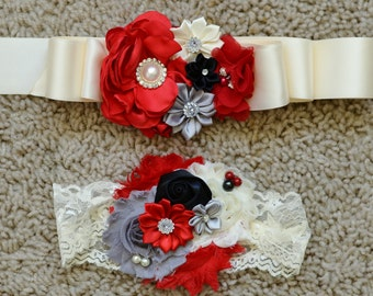 red,ivory grey flower girl sash and headband/ sash/flower girl sash/wedding sash