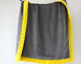Baby Blanket, Gray Minky Dot with Yellow Satin Trim