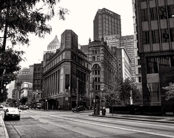 Pittsburgh street scene photo, HDR photograph, muted color, fine photography prints, A Street Scene in the 'Burgh