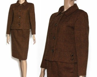 Vintage 1950s Suit Matching Rust Jacket Rockabilly Garden Party Mad Men Couture Pinup Bombshell Cocktail Party Femme Fatale Designer