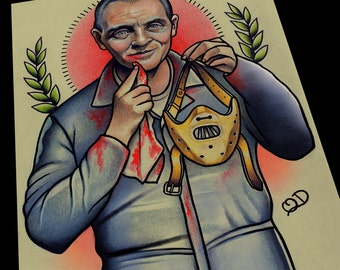 Hannibal Lecter Silence of the lambs Tattoo Flash Art Print