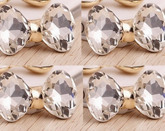 4 Flat Back Crystal  Bow Button ( 40x20mm) BL-021