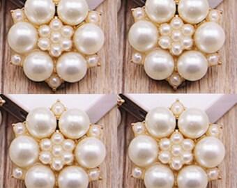 4 Flat Back Pearl Button Flower Button (27x25 mm) QS-073
