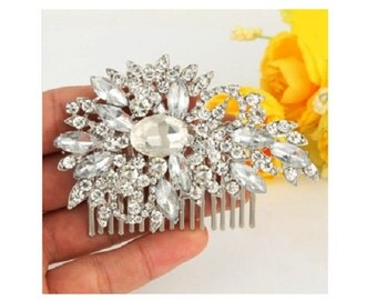 Bridal Hair Comb, Wedding Hair Comb, Rhinestone Bridal Head Piece Comb, Leaf Headpiece, Wedding Hair Comb, Wedding Hair Jewelry, Cb11