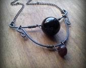 Atropa Belladonna Onyx Orb Necklace Unique Steampunk Jewelry Elegant Gemstone Jewelry - On Sale!