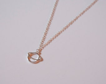 Delicate Saturn Silver Necklace