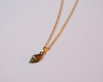 Tiny Bronze Seashell Necklace