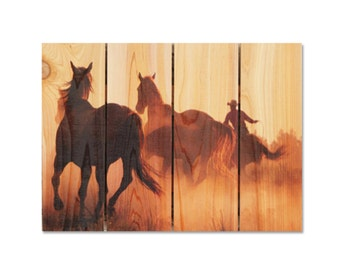 "Cowboy Roundup Horses on Wood, 22""x16"" Wall Hanging Wood Art, Indoor Outdoor Safe, Man Cave Decor, Home Decor (RU2216)"
