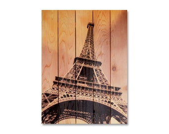"""Eiffel Tower Print on Wood, 28""""x36"""", Hang in or Out. French Home Decor. Wall Hanging. (ET2836)"""
