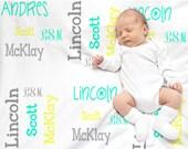 Personalized baby blanket, Receiving blanket, Custom baby blanket, Baby shower gift, Nursery decor