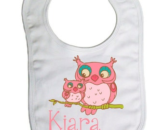Owls Personalized  Baby Bib, baby shower gift- -B009