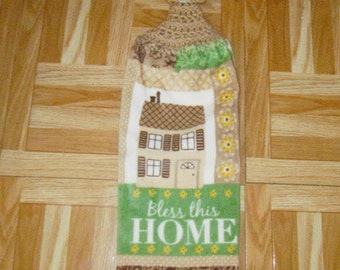 Crocheted Hang  Towels- Bless this House
