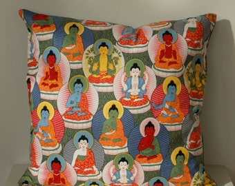 "NAMASTE | Bright Alexander Henry Buddha Pillow Cushion Cover Vibrant Design 18""x18"" or 45cm x 45cm"