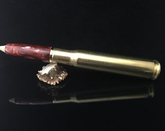 Bullet Pen, .50 Caliber Authentic Machine Gun, Gold Finish, Cosmic Cooper Acrylic, Gift,Handcrafted,429