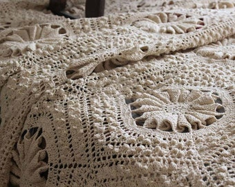 Stunning Shabby Chic,  Country Rustic, 100% Cotton Handmade Vintage Style Crochet Bedspread, Coverlet, Quilt,  King Size, Queen Size , BC008