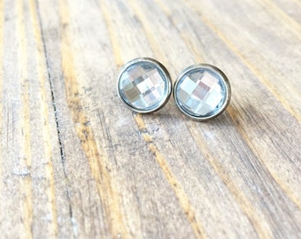Crystal Clear Rhinestone Silver Bezel Post Stud Earring-Stainless Steel Post