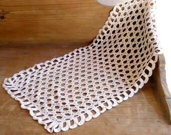 Beige Table Runner,Neutral Decor, Honeycomb Pattern Crochet ,Table Mat