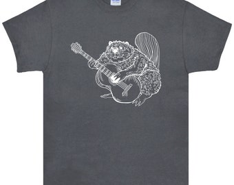 Beaver Playing Guitar T Shirt.Men's Gildan Ultra Cotton Adult Tee.Guitar Shirt.Guitar tshirt.Guitar Tee.Beaver Tee.Band Tee.Rock. SEEMBO