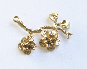 6 pcs of brass branch charm-1164-35x30mm-18k gold