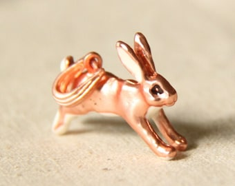 2 pcs of matte rose gold running bunny charm pendant with loop for pendant 34mm length-1944