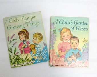 Vintage Rand McNally Junior Elf Books: A Child's Garden of Verses & God's Plan for Growing Things. Set of 2 Christian Books for Children.