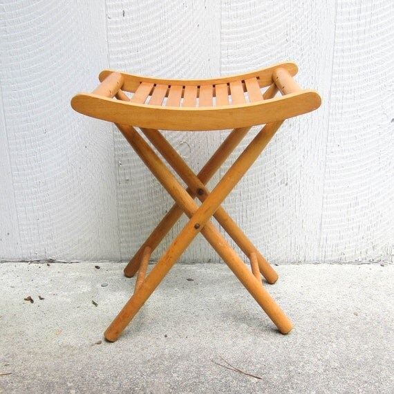 Vintage Collapsible Wooden Camping Stool Folding Wood Seat