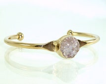 Druzy Cuff Bracelet, Delicate Gold Cuff Bracelet, Druzy Gemstones Bracelet,  Boho Mineral Druzy Bangle, Summer Fashion, By Inbal Mishan.