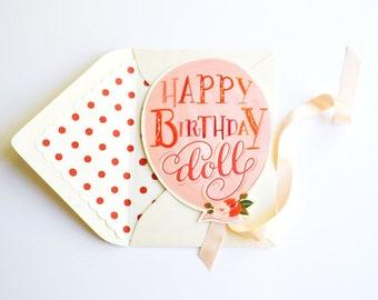 Happy Birthday Doll Card with Ribbon