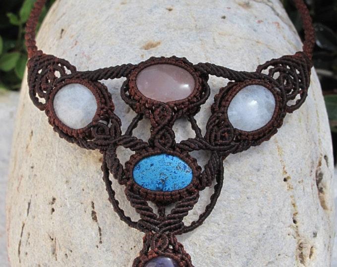 Rose quartz, Moonstone, Chrysocolla, Amethyst macrame necklace