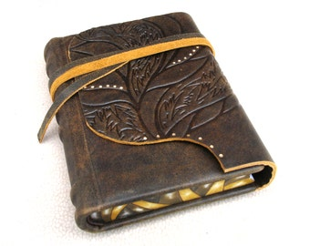 Leather Travel Journal, Writing Journal, Handbound Blank Book, Brown Antique Leather, Painted End Papers, Painted Edges