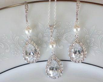 Crystal Bridal Earrings, Crystal Bridal Jewelry Set, Wedding Jewelry Set, Wedding Earrings Swarovski Crystal Earrings Bridal Jewelry