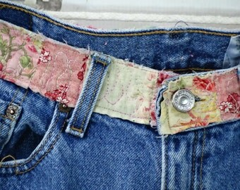 Reserved Hippy Patched Denim Jeans Floral Patchwork Upcycled Clothing Women's 505 Levis