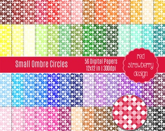 75% OFF Sale - 56 Digital Papers - Small Ombre Circles - Instant Download - JPG 12x12 (DP234)