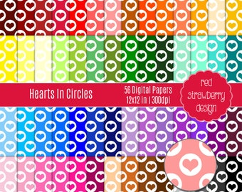 75% OFF Sale -56 Digital Papers - Hearts in Circles - Instant Download - JPG 12x12 (DP240)