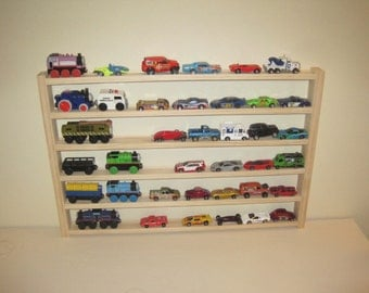 Car and Train Rack - toy car storage rack - organization for toy car and wooden trains