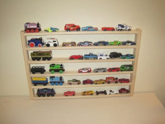 Wooden Toy Car Shelf : Items similar to car and train rack toy storage